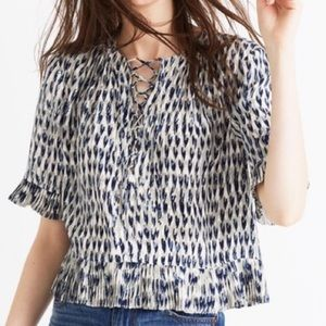 Madewell Lace Up Top in Painted Feathers